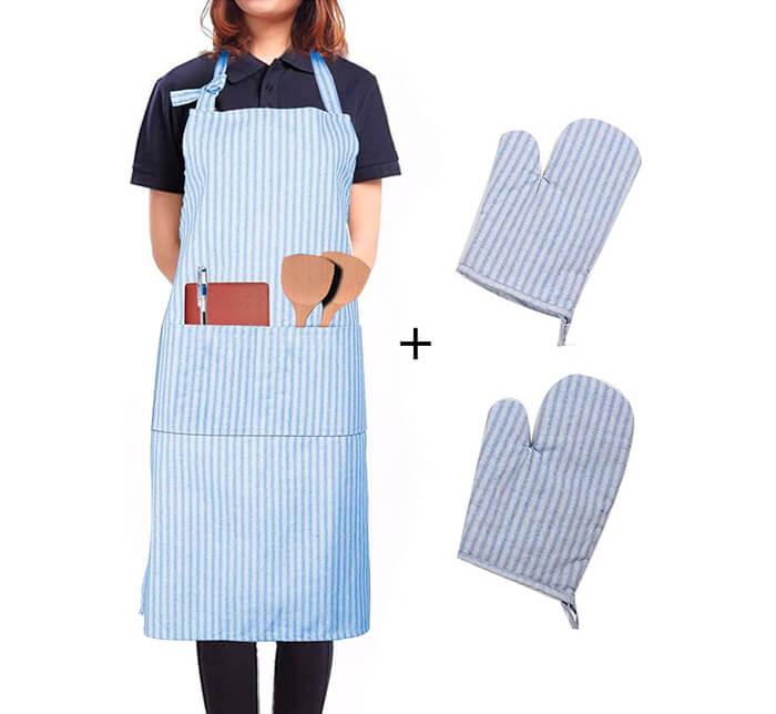 Kit delantal con manoplas de cocina